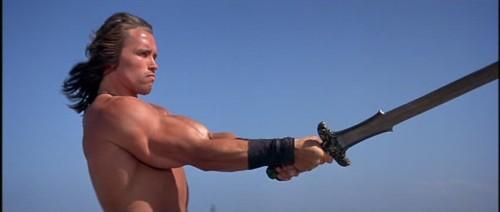 Schwarzenegger mostró músculo por primera vez en esta aventura.
